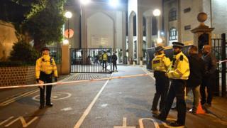 A police cordon outside London Central Mosque