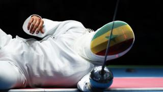 On Tuesday, Alexandre Bouzaid of Senegal reacts during his men's Epee individual round at the Rio 2016 Olympic Games.