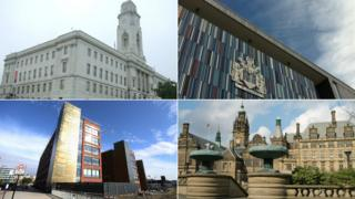 Clockwise: council offices in Barnsley, Doncaster, Rotherham and Sheffield