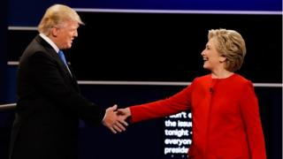 Trump and Clinton shake hands