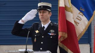 Lt-Col Arnaud Beltrame pictured at the Carcassone military headquarters earlier in 2018