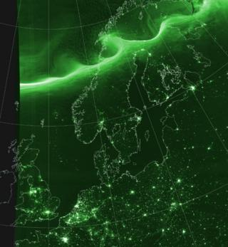Satellite image of Monday night's Northern Lights