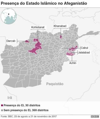 Mapa atuação do EI no Afeganistão