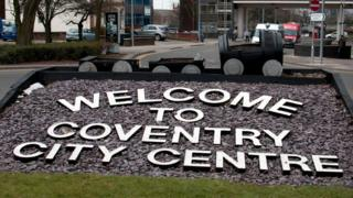 Welcome to Coventry sign on grass roundabout