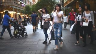 Shoppers in central Sydney