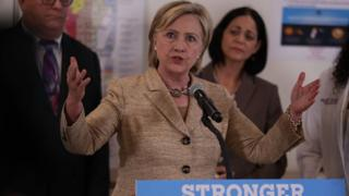 Democratic presidential nominee Hillary Clinton calls on Congress to pass emergency funding while speaking at the Borinquen Health Care Center in Miami, Florida.
