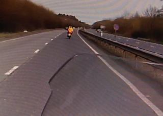 Police footage of the motorcyclist
