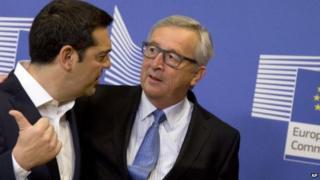 Alexis Tsipras (l) and Jean-Claude Juncker (r)