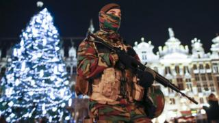 A soldier patrols the Belgian capital Brussels