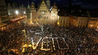 Protesters in Warsaw, Poland