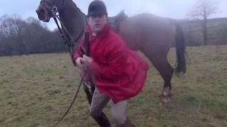Jason Marles with riding crop and horse