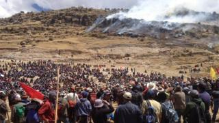 A handout photo released by the Observatory of Mining Conflict of Peru shows hundreds of demonstrators during a protest against the copper mining project Las Bambas in Fuerabamba on 28 September 2015.
