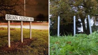 Brian Clough Way signage and posts