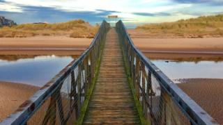 The footbridge to Lossiemouth East Beach