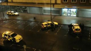 Police cars outside Coral bookmakers, Jarrow