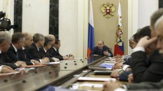 President Putin chairing Security Council session, 22 Jul 14