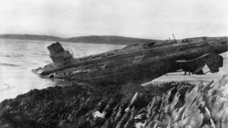 German U-boat on a beach in Falmouth