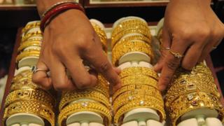 Gold jewellery in a store in western India
