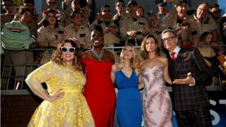 Director Paul Feig poses with cast members (L-R) Melissa McCarthy, Leslie Jones, Kate McKinnon and Kristen Wiig at the premiere of the film Ghostbusters in Hollywood