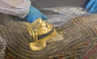 A scientist's blue gloves next to a sarcophagus