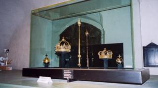 Södermanland Swedish Royal funeral regalia in the cathedral 2004 Charles IX Funeral Crown,Karl X Gustav Funeral Crown and sceptre and Orb