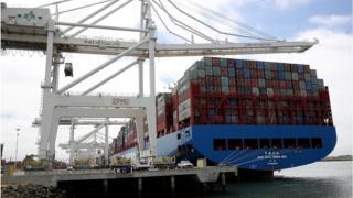 Container ship in Oakland port