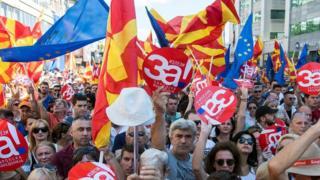 Скопье, демонстрация за ЕС в 2018 году