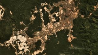 Satellite image showing the signs of illegal mining on Amazonian land belonging to the Kayapo tribe in July 2019