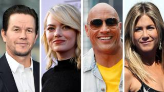 Left-right: Mark Wahlberg, Emma Stone, Dwayne Johnson, Jennifer Aniston