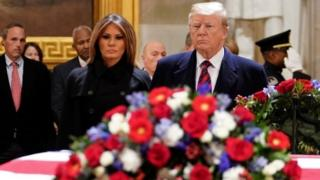 Donald and Melania Trump pay respects as President George HW Bush lies in state at the US Capitol