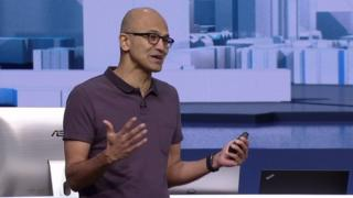 "Satya Nadella said Microsoft was hoping to ""infuse"" technology with intelligence"