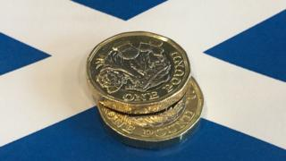 pound coins on a Saltire