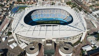 Aerial view of the Olympic Stadium, known as Engenhao, which will host athletics and football events during the Rio 2016 Olympic Games, in Rio de Janeiro, Brazil, taken on July 26, 2016.
