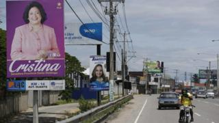 View of electoral billboards in a street of Santo Domingo, Dominican Republic, 08 May 2016.