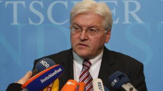 Frank-Walter Steinmeier, vice-chancelier et ministre allemand des Affaires étrangères, s'adresse aux médias lors de son audition concernant Mohammed Haydar Zammar au Bundestag le 13 mars 2008 à Berlin. (Illustration)