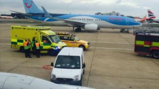 The Thomson plane at Gatwick airport