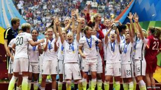 The Women's USA team celebrate their win