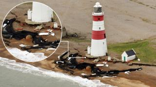 Aerial view of Orfordness Lighthouse taken in 2020