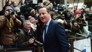 UK Prime Minister David Cameron arrives in Brussels (18 Feb)