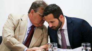 O ministro Geddel Vieira Lima e o ex-ministro da Cultura Marcelo Calero