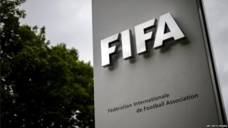 This picture taken on May 30, 2015 shows a sign at FIFA headquarters in Zurich
