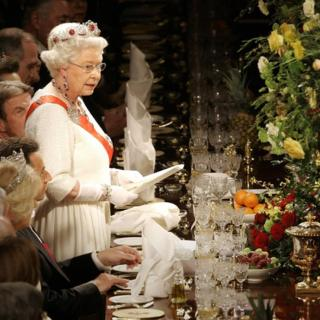 The Queen at a State Banquet