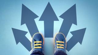 A picture of a pair of shoes with arrows pointing in different directions