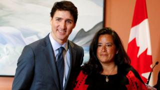 Newly appointed Veterans Affairs Minister Jody Wilson-Raybould poses with High Minister Justin Trudeau