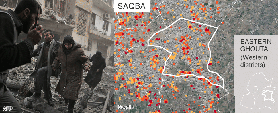 Map showing damage in Saqba, Eastern Ghouta
