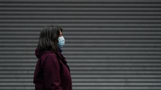Woman in mask in Middlesbrough