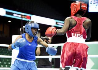 in_pictures Kenyan boxer Christine Ongare (L) fighting Uganda's Catherine Nanziri (R) in Dakar, Senegal - Saturday 29 February 2020