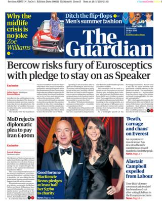 Wednesday's Guardian front page