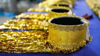 Close-up of the bracelets for the costumes