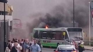 Bus on fire in York